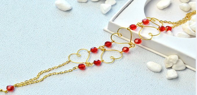 Beebeecraft ideas on making wire wrapped Heart Bracelet with Glass Beads