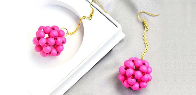 Beebeecraft tutorials on How to Make a Pair of red wood beaded Ball Earrings