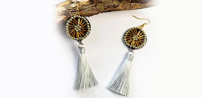 Beebeecraft tutorials on How to Make felt earrings with bugle beads and tassel