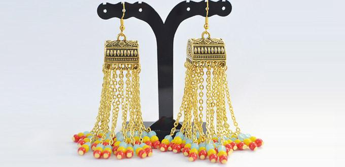 Beebeecraft Original DIY - How to Make Beaded chain tassel Earrings