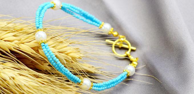 Beebeecraft Tutorial on How to Make Blue Seed Beads Bracelet