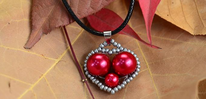 Beebeecraft Tutorials on Making Heart-pattern Leather Necklace with Pearl Beads