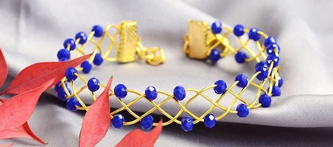 Beebeecraft Beginners Project – Making a Blue Winding Bracelet with Glass Beads