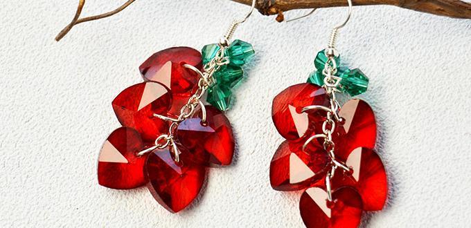 Beebeecraft Tutorials on How to Make Red Crystal Heart Shape Earrings