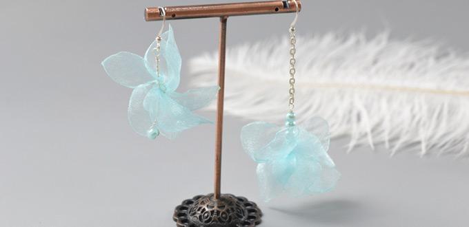 Beebeecraft Tutorials on How to Make Flower Organza Asymmetric Earrings