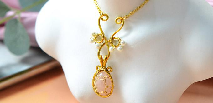 Beebeecraft Tutorials on How to Make Golden Wire Wrapped Necklace