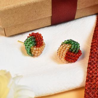 PandaHall Idea on Beaded Ball Shaped Studs With Colorful Beads