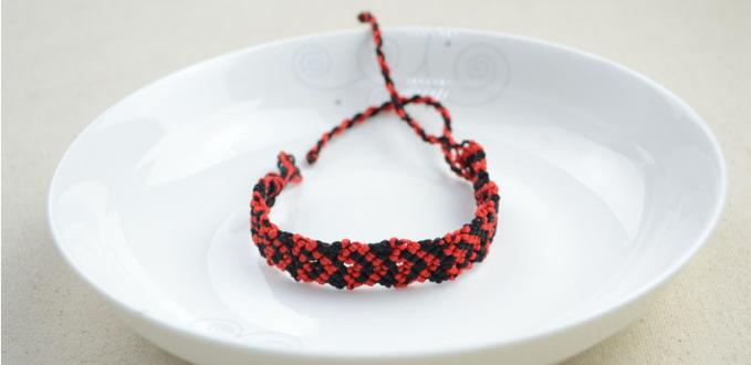 Rainy Day Craft Ideas- How to Do a Love Heart Design Friendship Bracelet with Black and Red Strings