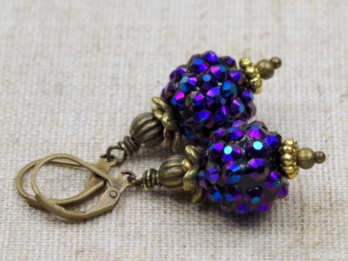 Rhinestone Bead Earrings