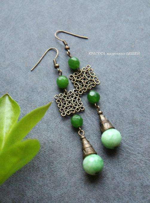 Vintage Style Jewelry Earrings with jade beads