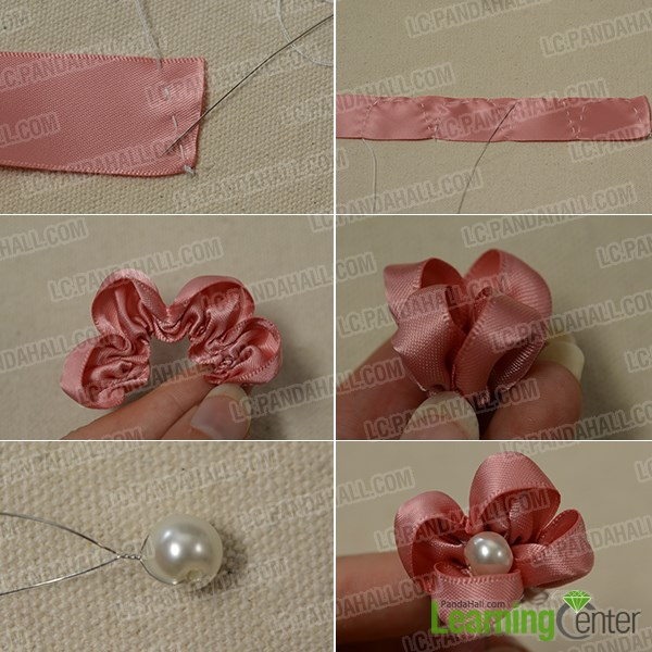 How to make a pink ribbon flower brooch for girls pandahall sew a flesh pink ribbon flower mightylinksfo