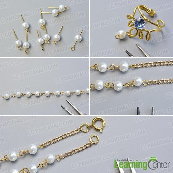 Make the pearl bead bracelet