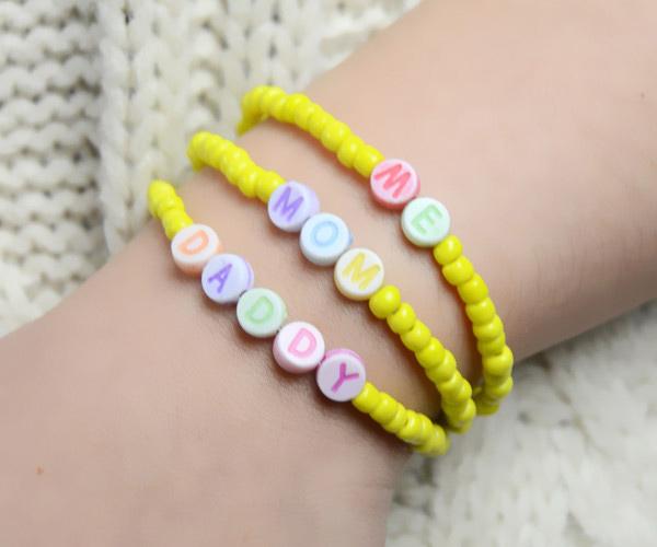 multi strand personalized beaded family bracelet pattern