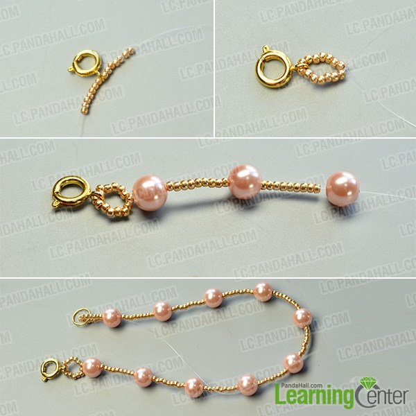 make the first part of the pink and white pearl bead bracelet