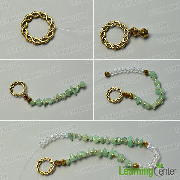 make the first part of the green gemstone bead necklace