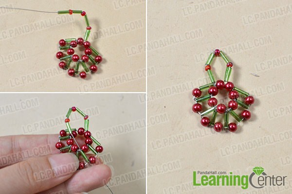 thread a green bugle bead and a red pearl bead successively