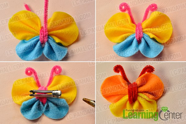 Finish the felt butterfly hair clip