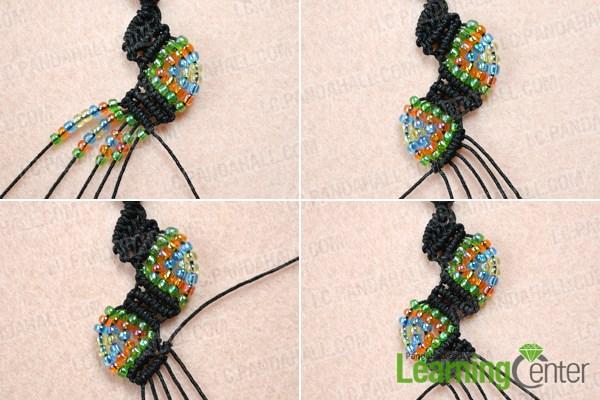 Weave the basic pattern for the adjustable macramé beaded bracelets
