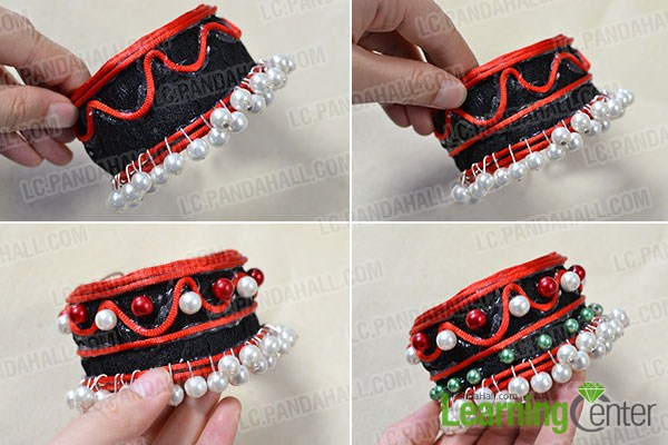add nylon threads, red pearls and green pearls