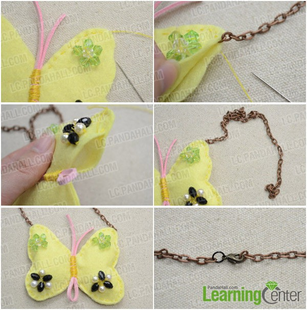 Step 3: Finish the butterfly necklace