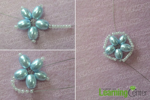 String a circle of seed beads around the beaded flower pattern