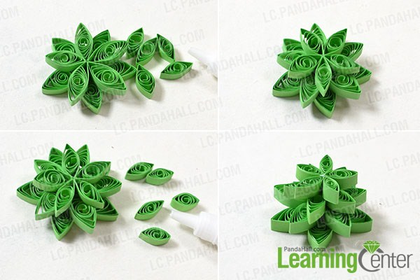 Add other 2 quilling paper flowers
