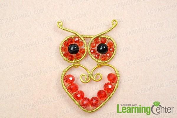 Finish making wire owl pendant