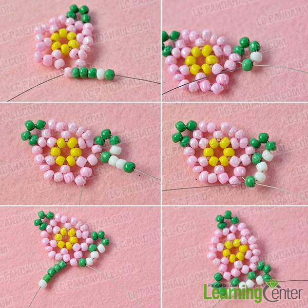 Add green seed bead adornments