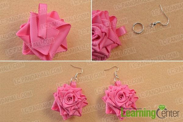 finish rose flower dangle earrings