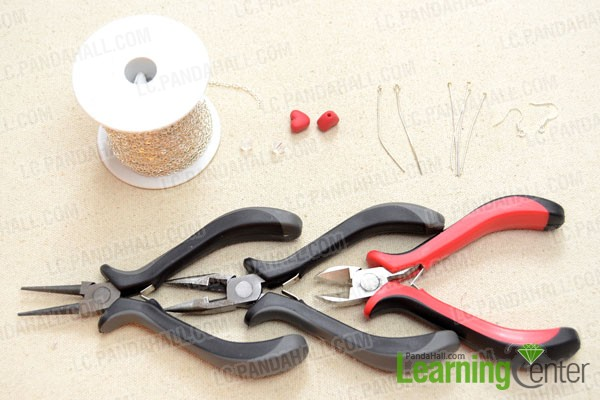 Supplies needed for making earrings with headpins