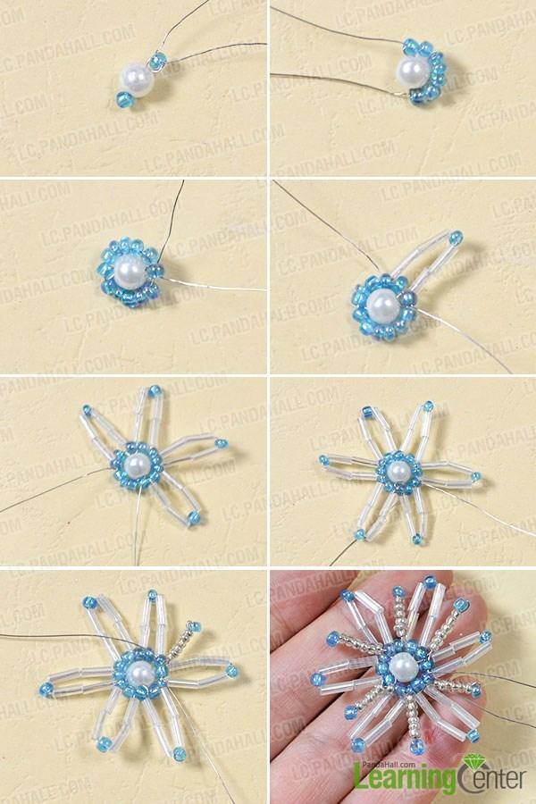 Stitch a snowflake pattern