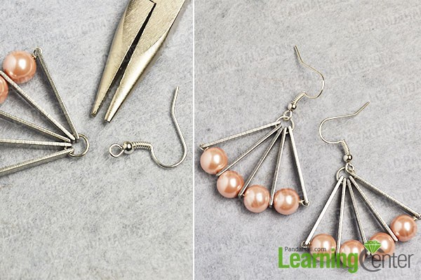 Finish the pearl bead earrings