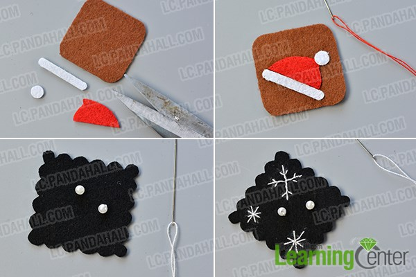 Make the Christmas hat and snowflakes stamps