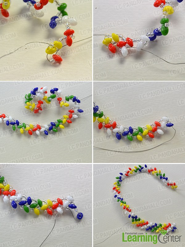 make the second part of the handmade rainbow beaded bracelet