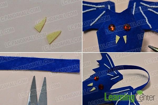 make the rest parts of blue Halloween bat holder
