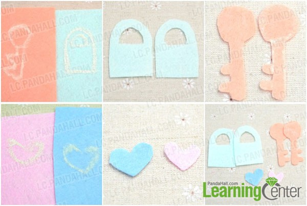 prepara lock and key patterns for the couple key chain