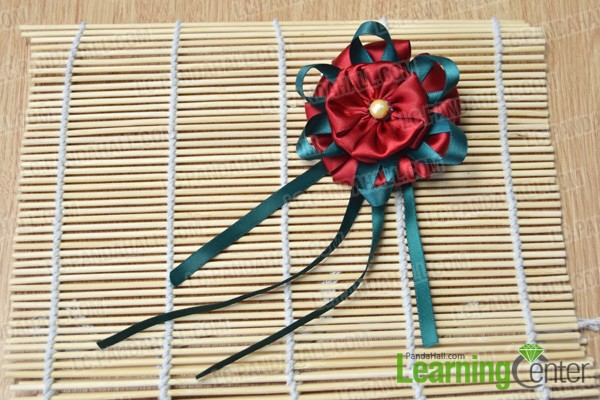 finished three-layer red ribbon flower brooch
