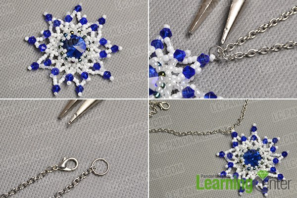 Finish the beaded snowflake necklace