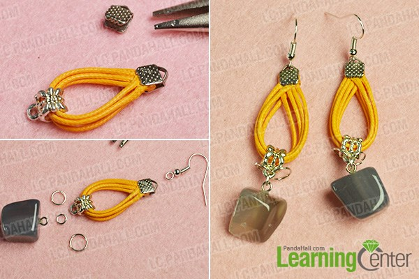 Finish the gemstone dangle earrings