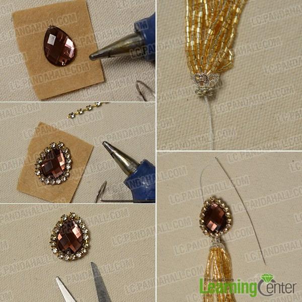 make the upper part of the gold tassel earrings