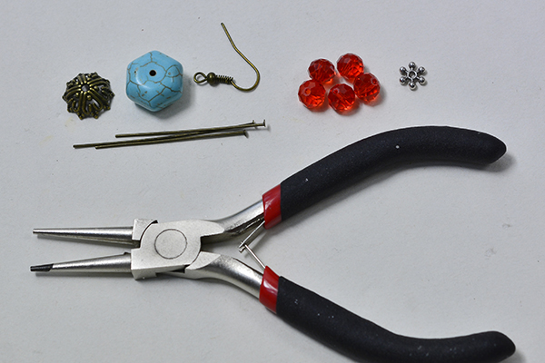 Supplies in making the easy turquoise bead drop earrings: