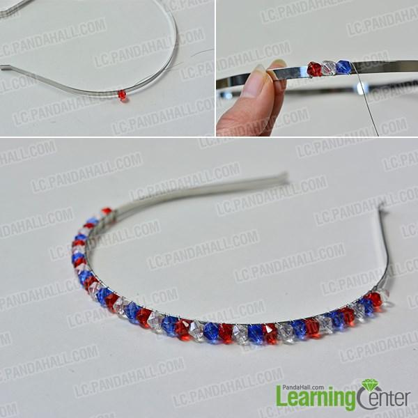 Wrap glass beads to headband