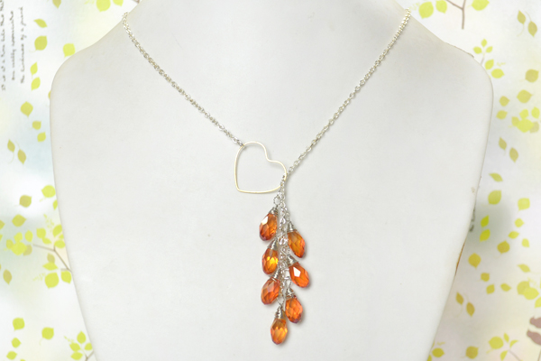 final look of DIY heart lariat style necklace