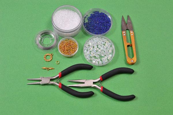supplies needed in making the handmade seed beaded bracelet