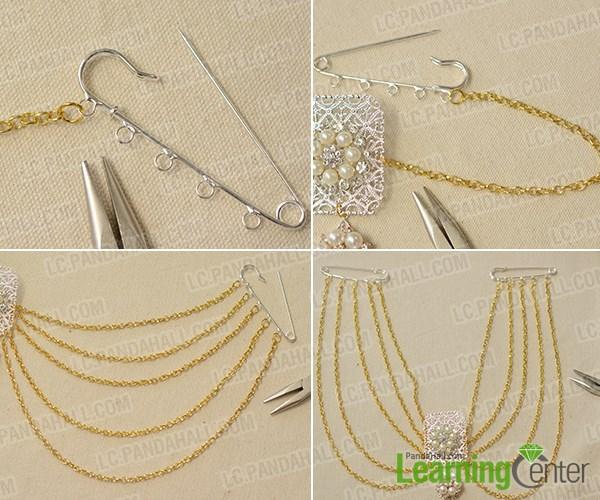 Attach waist chains to kilt Pins