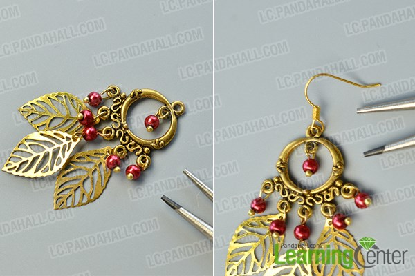 finish the chandelier leaf dangle earrings