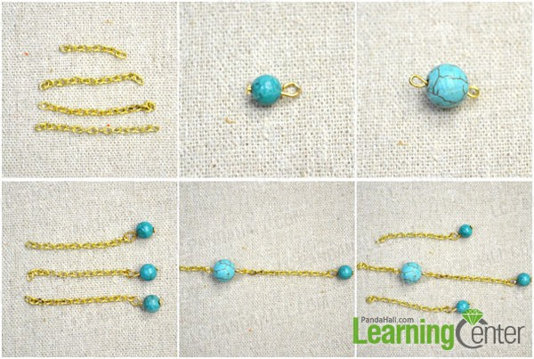 make the bead dangle chains of the flower ear cuff earring