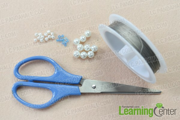Materials needed in beaded snowflake ornament tutorial