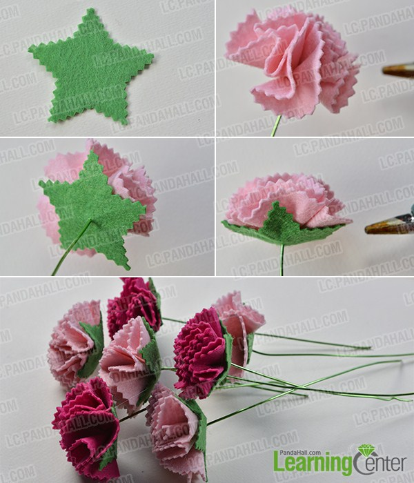 How to Make a Felt Carnation Flower Bouquet for Mother\'s Day ...