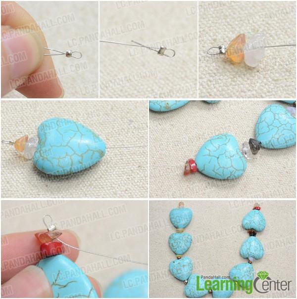 Step 1: Make bottom turquoise strand